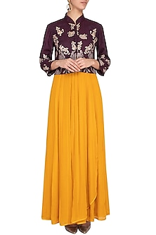 Aubergine embroidered jacket with mustard kurta and pants by Garo