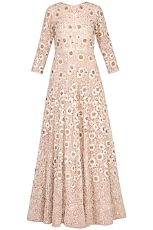 Pastel pink embroidered anarkali gown with churidar pants by Garo
