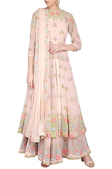 Pastel pink embroidered kurta with gharara pants set by Garo