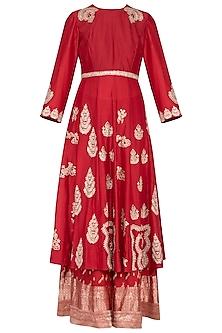 Deep red embroidered kurta with gharara pants set by Garo