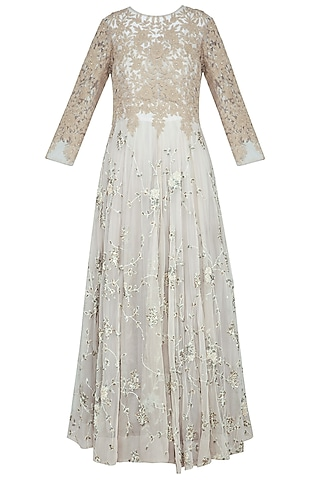 Grey embroidered anarkali gown with churidar pants by Garo