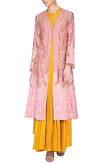 Pink embroidered jacket with mustard drape and pants by Garo