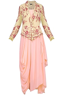 Powder pink drape jumpsuit with jacket by Garo