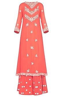 Peach embroidered kurta with gharara pants set by Garo