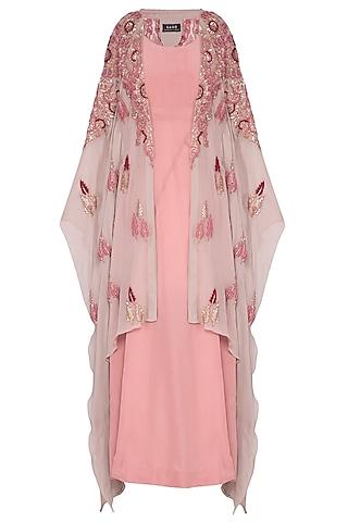 Pink drape and churidar pants with beige overlayer kaftan by Garo