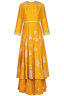 Mustard embroidered kurta with gharara pants set by Garo