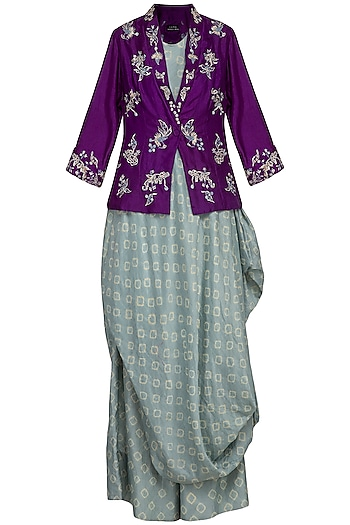 Greyish blue drape and pants with purple embroidered jacket by Garo