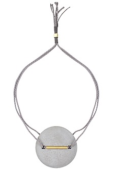 Grey Double Thread String Brushed White Big Round Pendant Neckpiece by Greytone