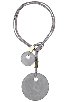 Grey Three Thread String Double Off White Chrome Pendants Big Lariat Neckpiece by Greytone