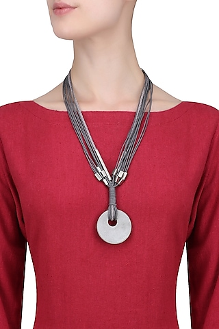 Grey Multiple Thread String Chrome Off White Round Pendant Neckpiece by Greytone