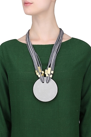 Grey Multiple Thread String Gold Finish Tubes Round Pendant Neckpiece by Greytone