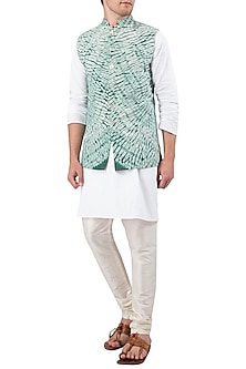 Green Tie and Dye Nehru Jacket by Gaurav Katta