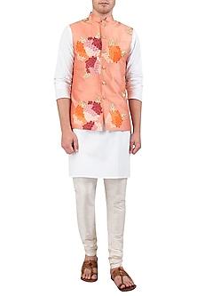 Peach Embroidered Nehru Jacket by Gaurav Katta