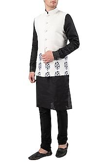 White Block Printed Nehru Jacket by Gaurav Katta