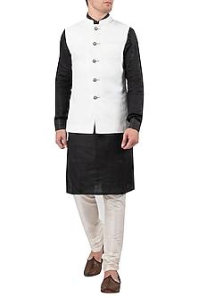 White Linen Nehru Jacket by Gaurav Katta