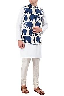 White Indigo Elephant Motifs Printed Nehru Jacket by Gaurav Katta