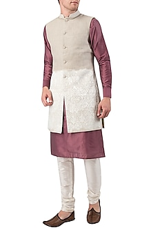 Grey Embroidered Long Nehru Jacket by Gaurav Katta