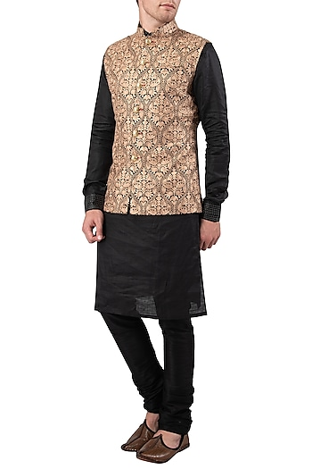 Black and Beige Embroidered Nehru Jacket by Gaurav Katta