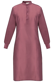 Old Rose Cotton Silk Kurta by Gaurav Katta