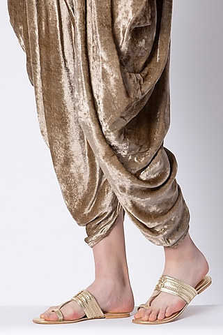 Gold Faux Leather Kolhapuris by Gush