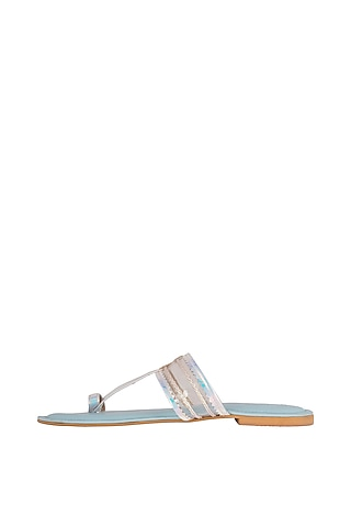 Light Blue Faux Leather Kolhapuris by Gush