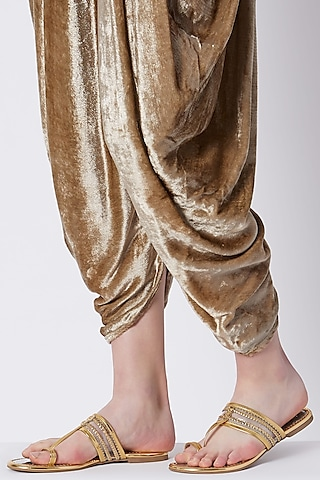 Gold Faux Leather & Plastic Kolhapuris by Gush