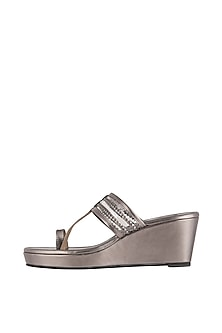 Pewter Faux Leather Kolhapuri Wedges by Gush