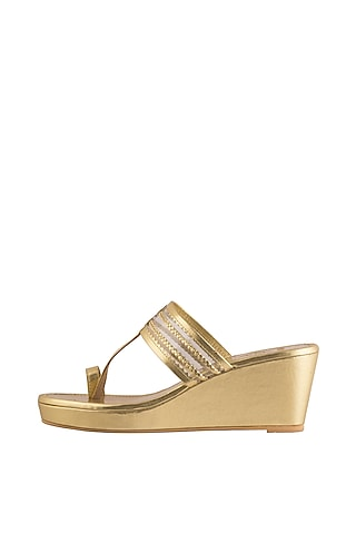 Gold Faux Leather Kolhapuri Wedges by Gush