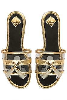 Gold and black tassel sliders by Gush