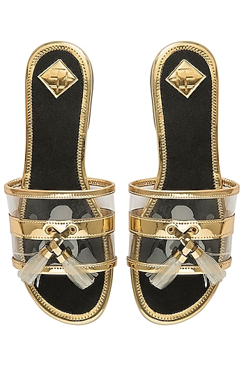 Gold and black tassel sliders by Gush