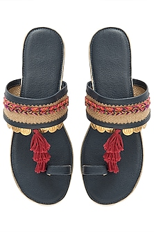 Navy Blue Tassel Sandals by Gush