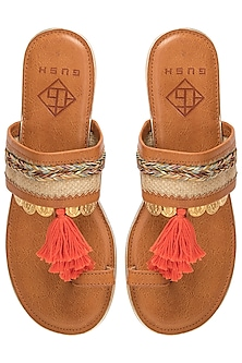 Tan Tassel Sandals by Gush