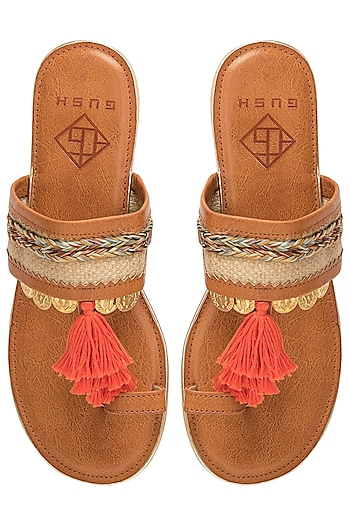 Tan Tassel Sandals by Gush