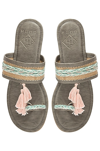 Grey Tassel Sandals by Gush