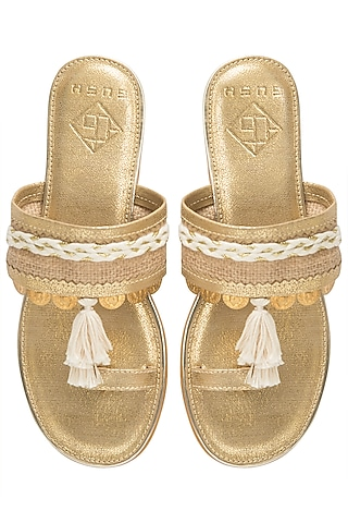 Gold Tassel Sandals by Gush