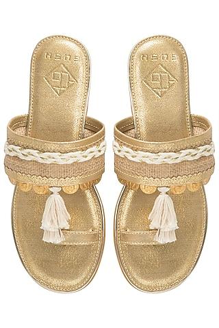 Gold Tassel Sandals by Gush