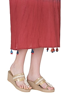 Gold Tassel Wedge Heels by Gush
