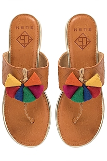 Tan Multi-Coloured Handspun Jute Sandals by Gush