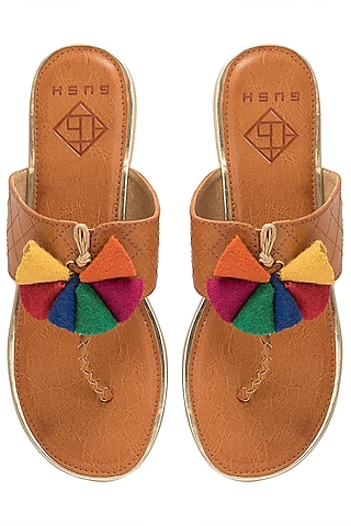 Tan Multi-Coloured Handspun Jute Sandals by Gush