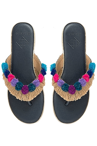 Multi-Coloured Pom Pom Sandals by Gush