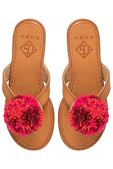Tan and Pink Pom Pom Sandals by Gush