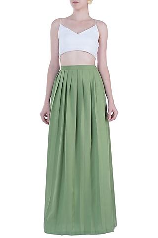 Light Green Pleated Maxi Skirt by Geeta Handa