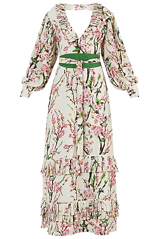 Cream and Pink Floral Maxi Dress by Geeta Handa