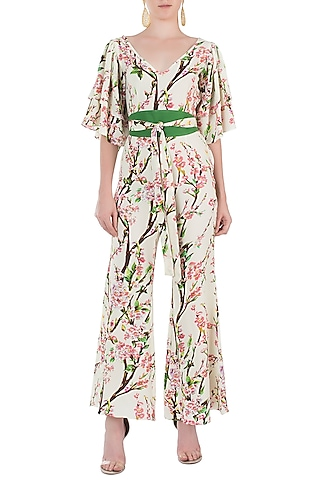 Cream and Pink Floral Jumpsuit by Geeta Handa