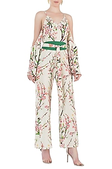 Cream and Pink Floral Cold Shoulder Jumpsuit by Geeta Handa