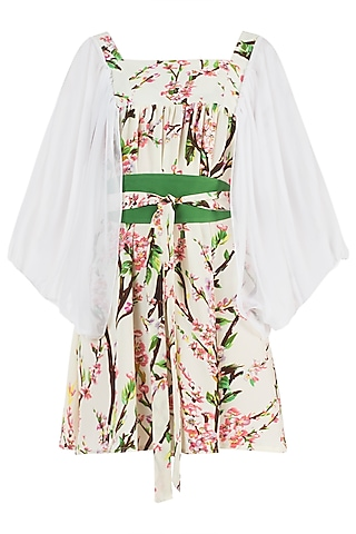 Cream and Pink Floral Smock Dress by Geeta Handa