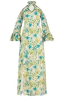 Green Floral Maxi Dress by Geeta Handa