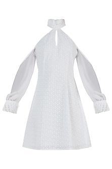 Ivory Chikankari Ruffle Dress by Geeta Handa
