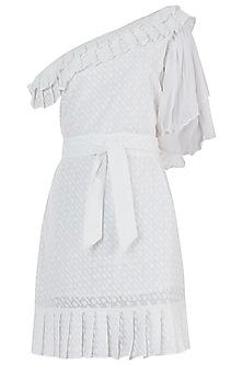 Ivory Chikankari One Shoulder Dress by Geeta Handa