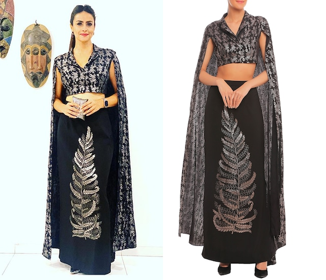 Black Printed Cape Sleeve Crop Blazer With Skirt by Masaba
